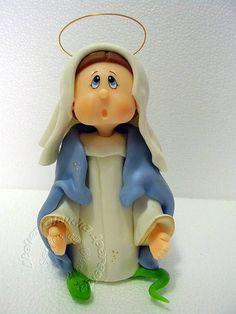 Nossa Senhora das Graças modelada em biscuit com características infantis.  Elo7 - Atelier Claudia Aparecida