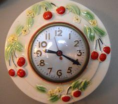 Clocks in Electronics - Etsy Vintage Cherry Baby, Cherry Fruit, Vintage Pottery, Etsy Vintage, Vintage Items, Kitchen Clocks, Kitchen Stuff, Red Clock, Strawberry Decorations