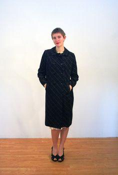 Romi, 60s Mod Black Velvet Coat, Black Plaid Coat, Burnout Velvet Winter Coat, Devore Velvet Rockabilly Coat, M