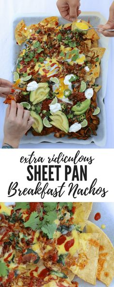 These are making me drool! Sheet pan breakfast nachos with layers of crispy hash browns, spicy salsa, runny egg yolk, and even hollandaise sauce. These are called 'extra ridiculous' for a reason! Breakfast Nachos, Breakfast Time, Birthday Breakfast, Breakfast Menu, Breakfast Ideas, Best Breakfast Recipes, Brunch Recipes, Brunch Food, Brunch Ideas