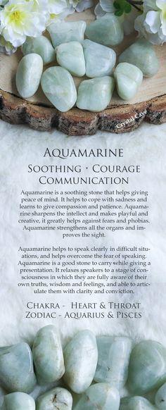 Aquamarine Tumbled Stone / Aquamarine Cuddle Stone / Aquamarine Gemstone / Soothing Crystal for Courage & Communication / Inner Peace Stone / Aquamarine Crystal Card / Aquamarine Gemstone Card