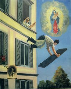 ex-voto of falling man | Cuz nothing says all-loving, all-powerful deity like passively watching a follower fall to their death.