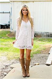 Our She's In Love Lace Dress - Ivory is adorable. It is a long sleeve unique pattern lace dress. Country Western Dresses, Country Style Outfits, Country Fashion, Preppy Outfits, Country Dresses With Boots, Top Country, Teenage Outfits, Wedding Dresses For Girls, Country Wedding Dresses