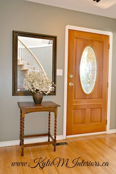 """best paint colour to go with a yellow or orange oak floor and fir door using benjamin moore sandy hook gray or gloucester sage"""