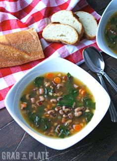bowl of Black-Eyed Pea & Swiss Chard Soup with Pancetta is what you ...