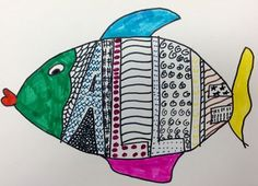 Some of my third grade classes created these pattern name fish on the last day of art class for the school year. Students chose their first name, last name or initials to draw inside of a fish and fill with patterns! Name Art Projects, Classroom Art Projects, Art Classroom, 3rd Grade Art Lesson, Third Grade Art, Visual Art Lessons, Elements And Principles, Art Curriculum, Art Lessons Elementary