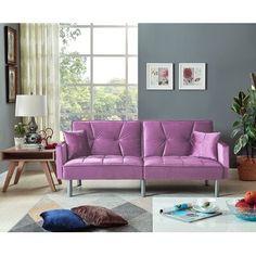 Mercer41 Hemphill Velvet Sleeper Sofa Fabric Purple In 2020 Sleeper Sofa Sofa Upscale Furniture