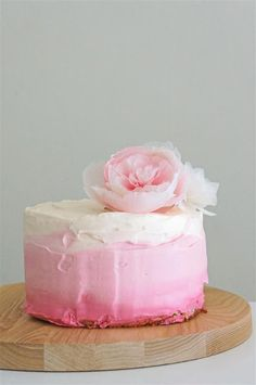 Ombre Cake (Strawberry and Cream Genoise Cake)