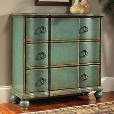 A Weathered Blue finish on this chest of drawers will complement everything it meets. The aqua blue finish is rubbed to reveal blond tones underneath, in homage to vintage furniture finds. This classic New England style incorporates a shaped top, block front, petite ball foot and ring pulls in an antiqued nickel finish. There are three deep drawers.