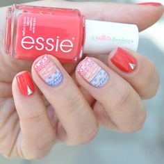 Essie summer collection 2015 Sunset sneaks - red nails with aztec print stamping nail art