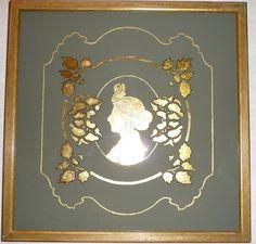 Silhouette de Mata Hari en verre églomisé à la feuille de cuivre - NON DISPONIBLE : Décorations murales par le-cartouche