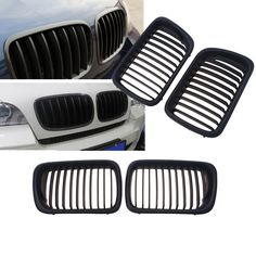 1Pair Matte Black Sport Style Kidney Front Bumper Grille Hoods For BMW 3 Series E36 1996 1997 1998 1999 Car Styling