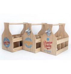 Natural Wood 6 Bottle Holder Crate Box with Opener Vintage Design Wine Beer Soda in Home, Furniture & DIY, Cookware, Dining & Bar, Bar & Wine Accessories   eBay
