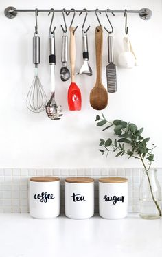 hand lettered kitchen canisters