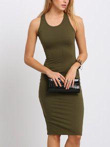 Army Green Sleeveless Sheath Midi Dress