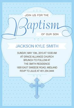 """Dotted blue"" printable invitation. Customize, add text and photos. print for free!  #baptism #christening"