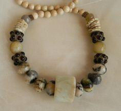 Beaded jewelry w jade archery ring pendant by CloudPineStudio, $325.00