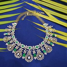 Check out this beautiful diamond necklace by the brand Manjula Jewels. Indian Jewelry Earrings, Emerald Jewelry, Diamond Jewelry, Emerald Diamond, Jewelery, Emerald Necklace, Gold Jewelry, Pearl And Diamond Necklace, Stone Necklace
