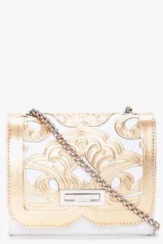 BALMAIN Gold Tone Ultimate Embossed Shoulder Bag
