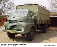 During the war, he spent 12 years as a truck driver all around the word. Although a difficult time, he very much enjoyed his time in the army and made many good friends. Military Armor, Military Life, Bedford Truck, South African Air Force, South Afrika, Old Lorries, Army Day, Armored Fighting Vehicle, Vintage Tractors
