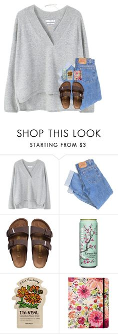 """""""it kills me when you're sad:("""" by katie-riley1 ❤ liked on Polyvore featuring MANGO, Levi's, Birkenstock, Kate Spade and Kendra Scott"""