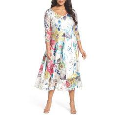 Plus Size Women's Komarov Lace & Charmeuse A-Line Midi Dress ($338) ❤ liked on Polyvore featuring plus size women's fashion, plus size clothing, plus size dresses, plus size, prismatic petals, white cocktail dress, lace dress, white dresses and plus size a line dresses