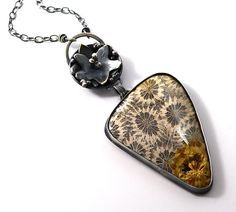 Fossil Stone Sterling Silver Necklace One of a Kind Jewelry Wild Prairie Silver Joy Kruse