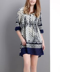 Look at this Navy Scarf-Print Chiffon Hi-Low Button-Front Dress on #zulily today!