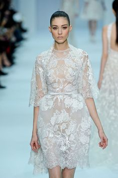 Elie Saab at Couture Spring 2012 - a little white sheer lace dress