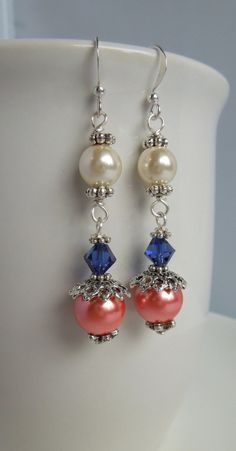 Coral Navy and Cream Earrings Pearl Drop by Sarahkayejewelry2, $9.00
