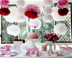 Lovely pink party paper decorations