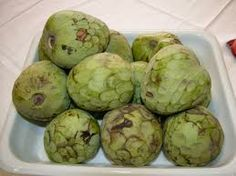 Cherimoya or Custard Apple.  Use when firm and yielding to gentle pressure, like avocado, not hard or soft.  Serve chilled, cut in half or wedges, discarding seeds.  Good fiber, Vitamin B6, C, potassium, riboflavin, thiamin, copper, folate, magnesium, phosphorus and pantothenic acid.
