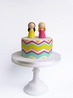 Peaceofcake ♥ Sweet Design Fondant Cake Toppers, Fondant Cakes, Peace Of Cake, Baby Showers, Chevron Cakes, Mint Chevron, Twin Baby Shower Cake, Single Tier Cake, Twins Cake