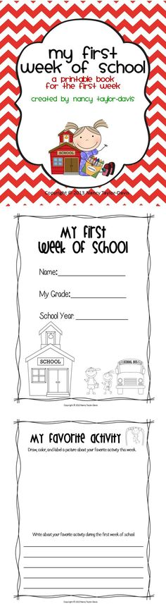 This 8 page printable book will be a great resource during the first week of school.  This printable will provide a nice summary of the first week for your students' parents when you send it home. The eight page printable book provides opportunities for your students to write and illustrate about the following topics: My First Day, My Teacher, My New Friends, Our Classroom Rules, My Favorite Activity, Something I Learned, & This Year I Hope $1.50