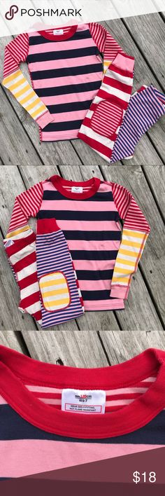 Snuggle up for winter!  H Andersson NWOT, Sz 6-7 Vibrant contrasting stripes make these 100% cotton pajamas perfect for bedtime!!  New without tags! Hanna Andersson Pajamas Pajama Sets