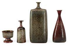 Stig Lindberg (Swedish,1916-1982) | A set of three stoneware vases and a bowl for Gustavsberg Studio, c. 1965-1968