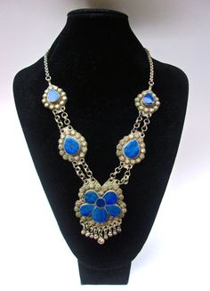 Lapis Ethnic Kuchi Silver Necklace Afghan by RenaissanceFair