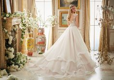 Vintage Embroidery Trimmed with Crystal Moonstone Beading on Tiered Organza Ball Gown Wedding Dress Designed by Madeline Gardner.