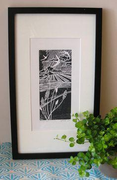 Soaring High Lino print