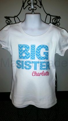 Personalized Big Sister Shirt or Bodysuit Blue by mamamadebows