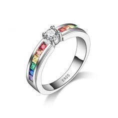 Rainbow Rhinestones women's rings, promise rings fo rher