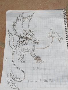 diseño de lobo alado con cuernos y sonrisa :)
