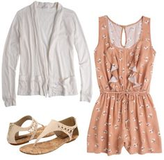Outfit inspired by One Direction's What Makes You Beautiful video: Summery romper, cardigan sweater, beige sandals