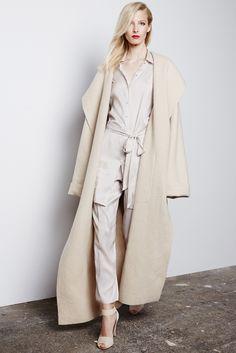 PEDRO DEL HIERRO MAADRID FALL 2015 RTW- Striped pajama set, strappy heels, oversize coat