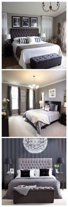 Dark bedroom Colors - Master Bedroom Paint Colors With Dark Furniture Master Bedroom Design, Home Bedroom, Master Bedrooms, Bedroom Designs, White Bedrooms, Modern Bedrooms, Bedroom Ideas Master On A Budget, Black And Grey Bedroom, Bedroom With Gray Walls
