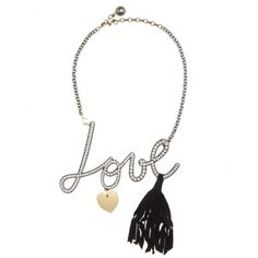 Let your accessories do all of the talking with Lanvin's embellished 'Love' necklace. Dusted with crystals, a swinging black tassel and a delicate faux-pearl add a dramatic sense of occasion.