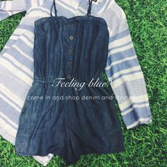 Feeling blue? Come in and shop denim and stripes today. #romper #ShopGeezLouise