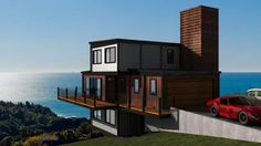Enchanting Shipping Crate House for New House Collection : Elegant Shipping Container House Exterior Design Near The Wide Beach Having The Red Brick Soar Chimney