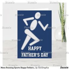 Shop Mens Running Sports Happy Fathers Day Card created by TLCGraphix. Best Dad Gifts, Cool Gifts, Gifts For Dad, Running Sports, Mens Running, Custom Greeting Cards, Custom Cards, Running Half Marathons, Happy Fathers Day