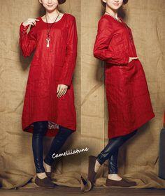 Red Tunic Dress / Longsleeve winter linen dress by camelliatune, $89.00